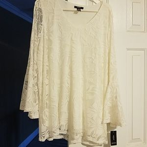 V Neck Lace Alfani Blouse with Bell Sleeves